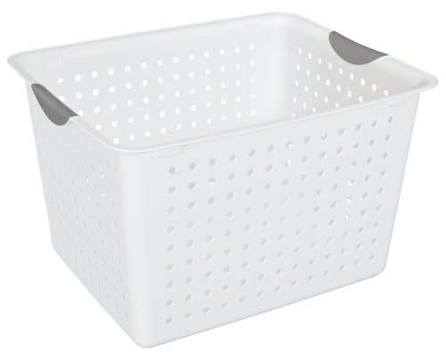 Sterilite 16288006 Deep Ultra Basket with Titanium Inserts, White, 6-Pack