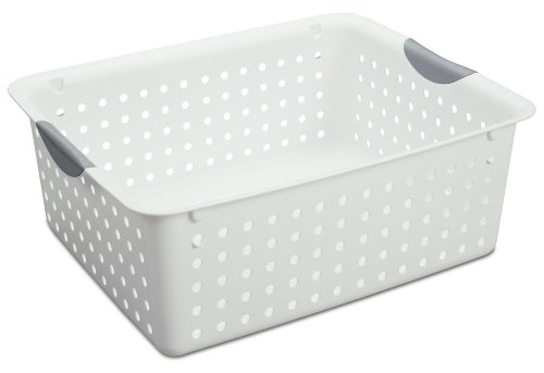 Sterilite 16268006 Ultra Basket with Titanium Inserts, White, 6-Pack, Large