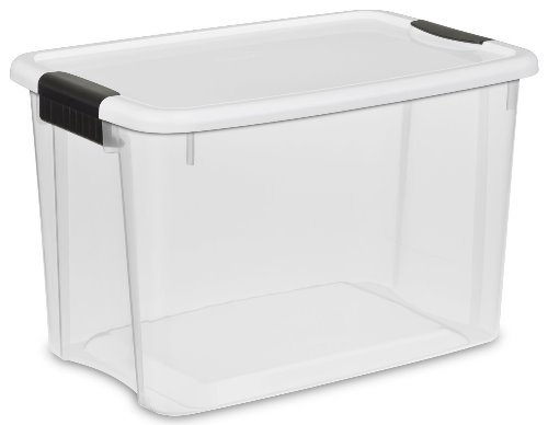 Sterilite 19859806 30-Quart Ultra Latch Box, White Lid See-Through Base with Titanium Latches, 6-Pack
