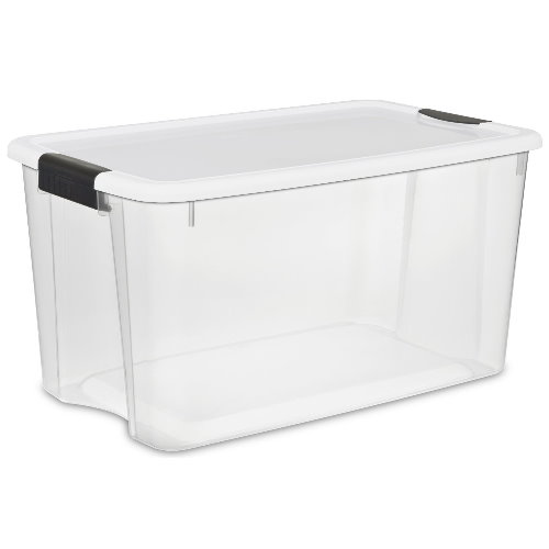 Sterilite 19889804 70 Quart Ultra Latch Box See through with White lid and Black latches,4 pack