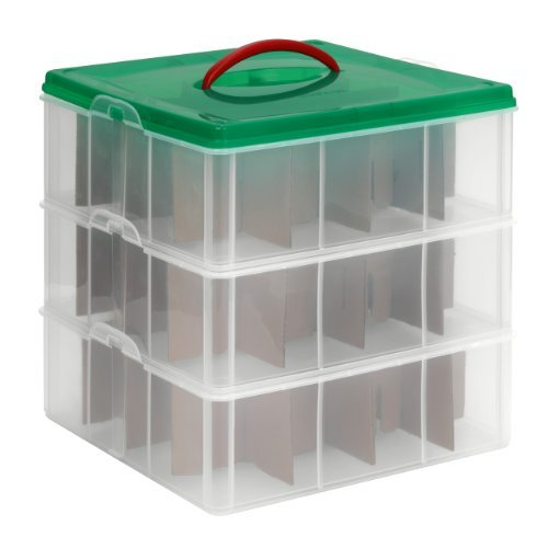 Snapware Snap 'N Stack Square Layer Seasonal Ornament Storage Container, 13 by 13-Inch